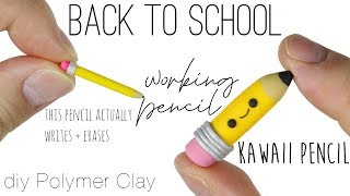 How to DIY actually WORKING Pencil vs KAWAII Pencil Back to School Polymer Clay Tutorial