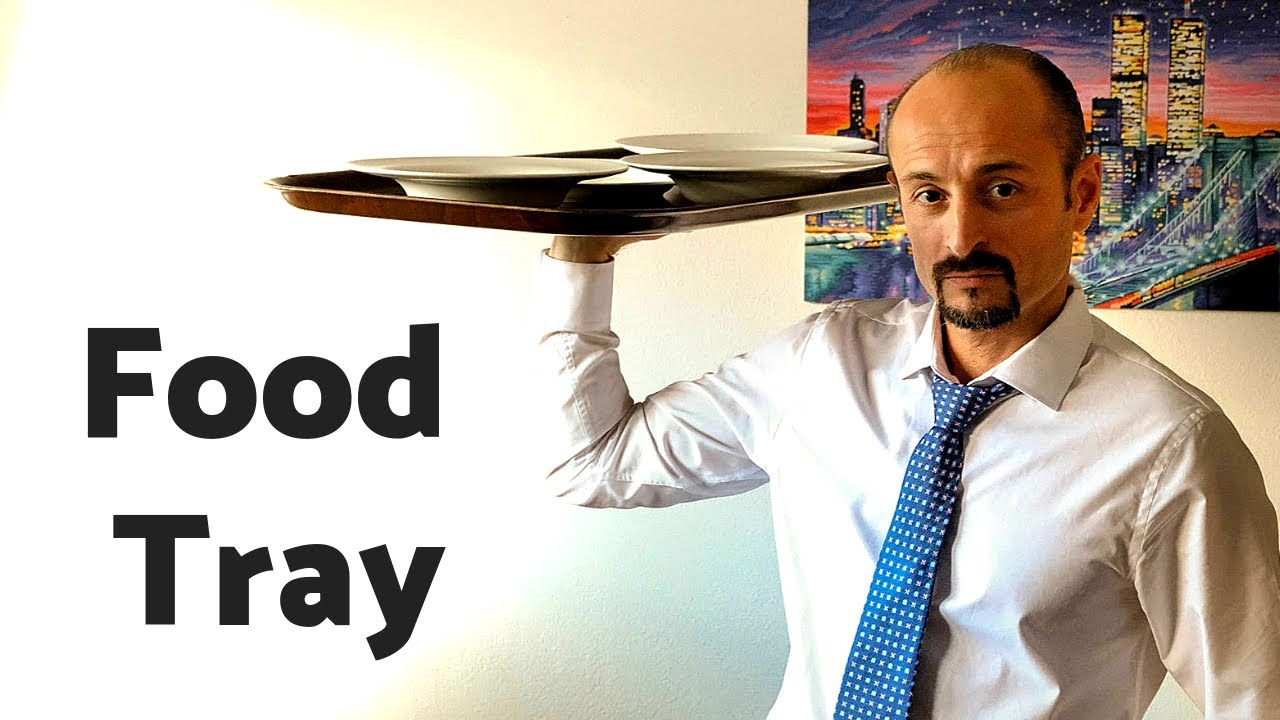 HOW TO CARRY A LARGE FOOD TRAY - restaurant service with a tray! Waiter  training! Busser training!