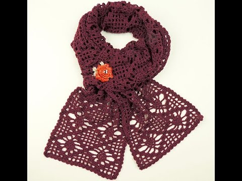 Crochet: Bufanda delgada con Piñas - YouTube