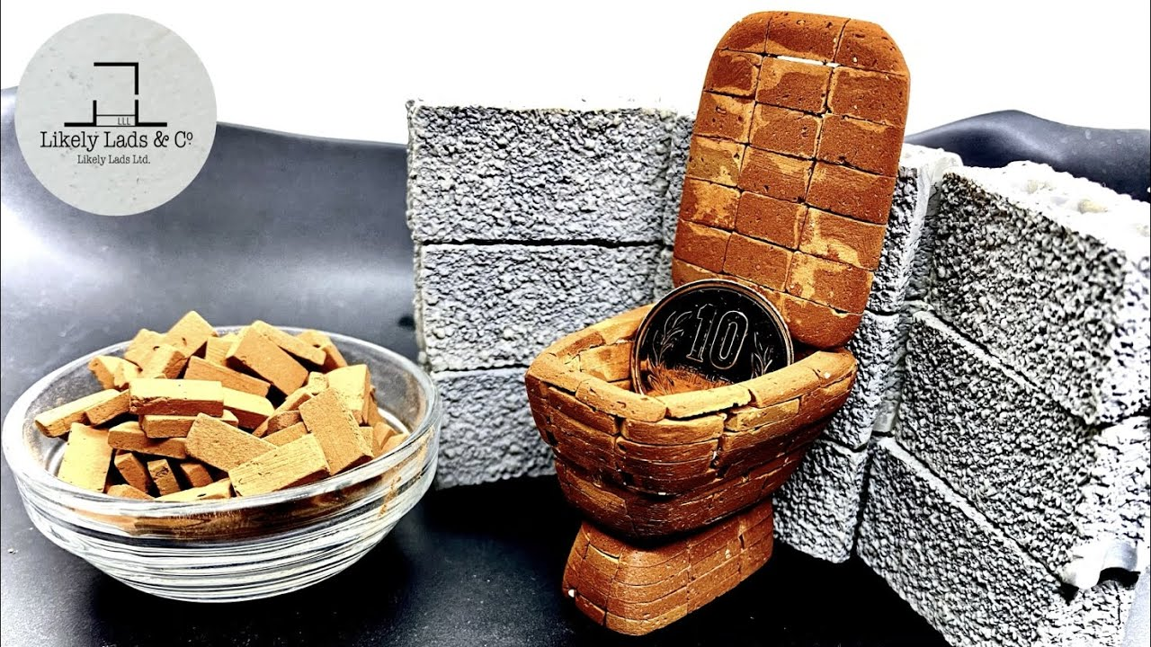 【煉瓦アート】アロンアルファとミニレンガでミニトイレ(便器)作り DIY miniature toilet mini brick