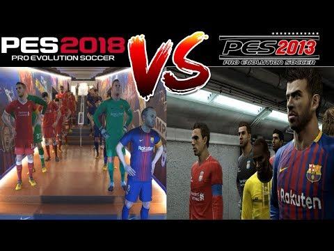 PES 2018 Vs PES 2013 Gameplay Comparison - FC Barcelona Vs Liverpool FC