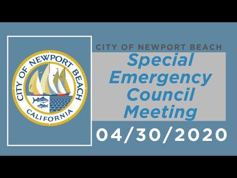 Newport Beach City Council Special Emergency Meeting: April 30, 2020