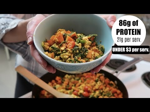 SWEET POTATO TOFU SCRAMBLE|| Protein packed || SLIMMIN IT