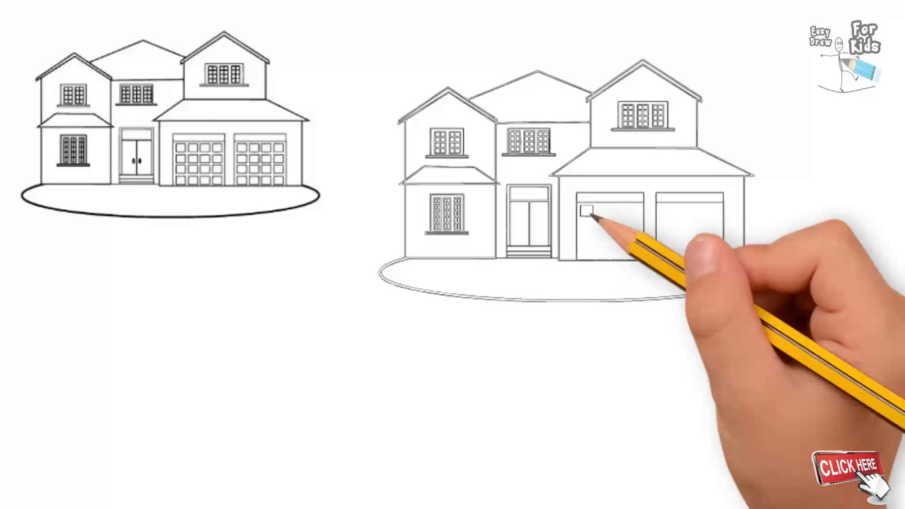 How to draw awesome house drawing house tutorial for kids draw house step by step secret tech