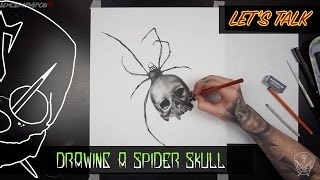 Drawing Spider Skull Charcoal Realism Art (Commentary)