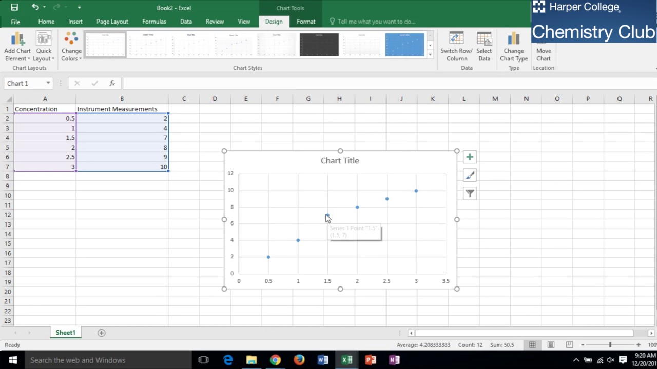 how to generate a calibration curve using microsoft excel