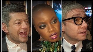 Andy Serkis, Danai Gurira and Martin Freeman - Black Panther London Premiere Interview EXCLUSIVE
