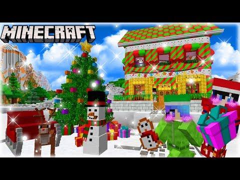 MineCraft สร้างบ้านคริสมาสต์แคนดี้ขนมหวานกลางหิมะต้อนรับคุณลุงซานตาคลอส