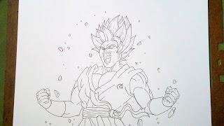 How to Draw Goku Super Saiyan Blue kaioken x10 (Sketch) Part. 1