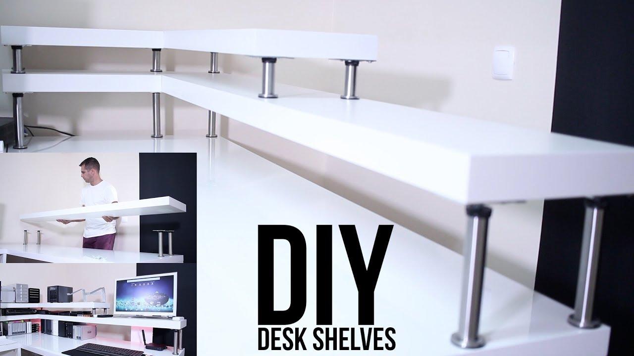 diy desk shelves   on a budget !!! - youtube