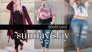 DESTROYED - The Sunday Slay | Plus Size Ripped Jeans Fashion Lookbook