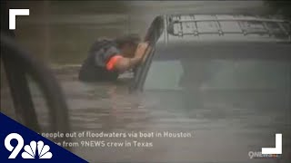 RAW: Crews go door-to-door by boat to save people from Houston flooding