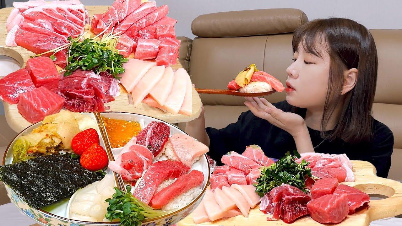 참치가 택배로 왔을 때의 올바른 자세 🍣  📦 Tuna Sashimi MUKBANG ASMR EATINGSHOW REALSOUND 혼술 먹방