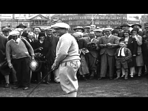 US golf player Bobby Jones wins over  Roger Wethered in Saint Andrews, Scotland. HD Stock Footage