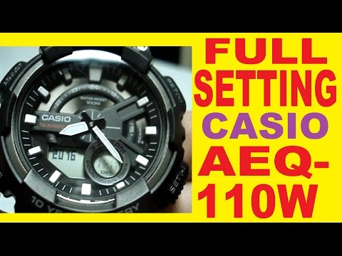 20ce9aee88f3 Setting Casio AEQ-110W - YouTube