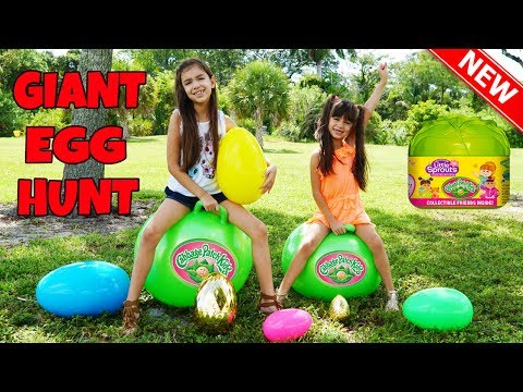 GIANT SURPRISE EGG HUNT on Giant Hopper Balloons for Cabbage Patch Kids Little Sprouts