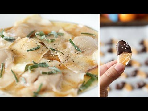 Easy Pumpkin Ravioli W Brown Butter Sauce & Sage | Chocolate Dipped Mandarin Oranges | Good Day Pa!