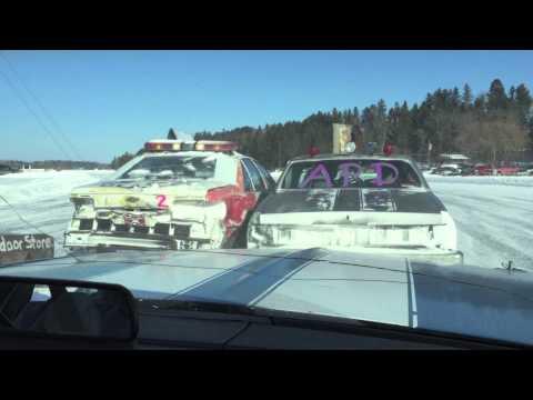 11th Crow Wing Lake Ice Oval - Akeley, Minnesota - Ice racing action!