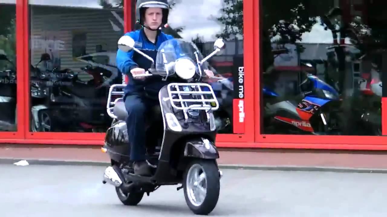 probefahrt vespa lx 50 2t touring 2010 roller scooter braun terra 112 a youtube. Black Bedroom Furniture Sets. Home Design Ideas