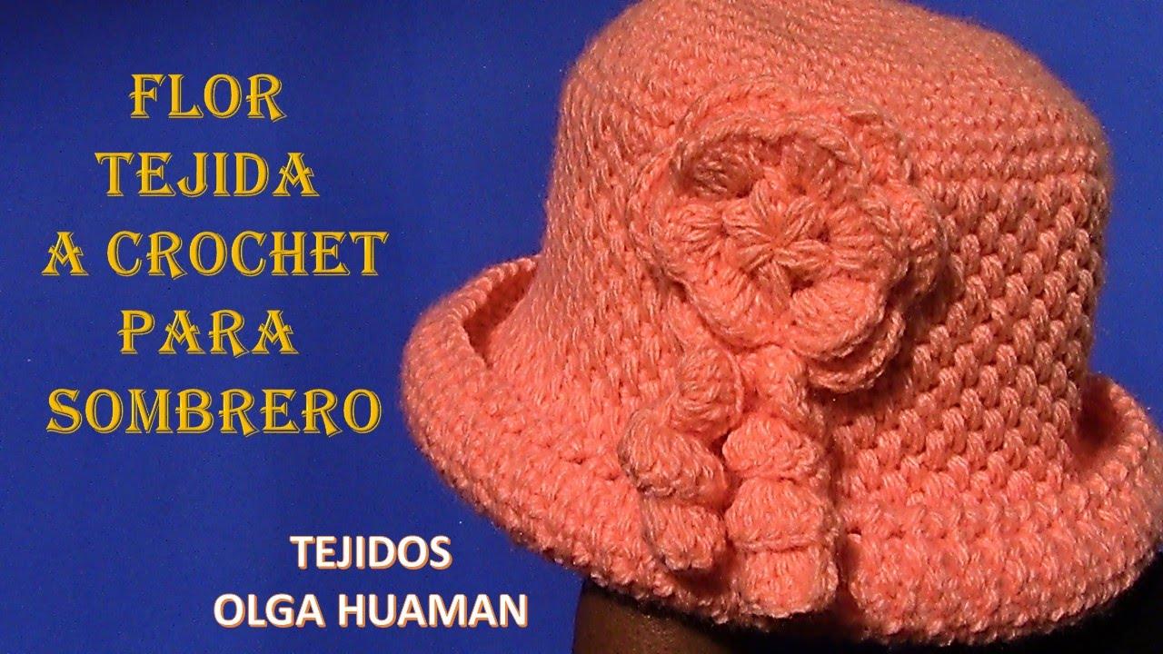 Flor tejido a crochet para sombrero en punto cesta simple paso a ...