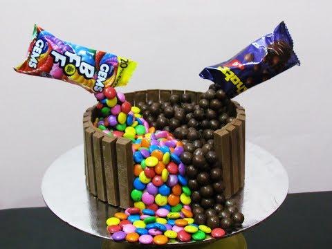 Gravity cake video --Kitkat Gems and Shots Decoration