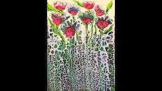 DA69 Acrylic Swipe w/ White & Peacock Colors into Fantasy Garden with Sandra Lett 053118