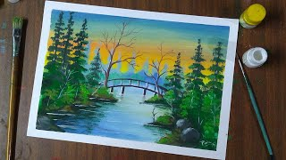 painting scenery with poster colour easy landscape step by step