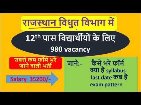 Rajasthan Vidyut Vibhag Vacancy 2021 // Syllabus, Exam Pattern // राजस्थान विद्युत विभाग भर्ती 2021