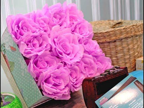 видео: Коробочка с розами из крепированной бумаги (box with roses from crepe paper)