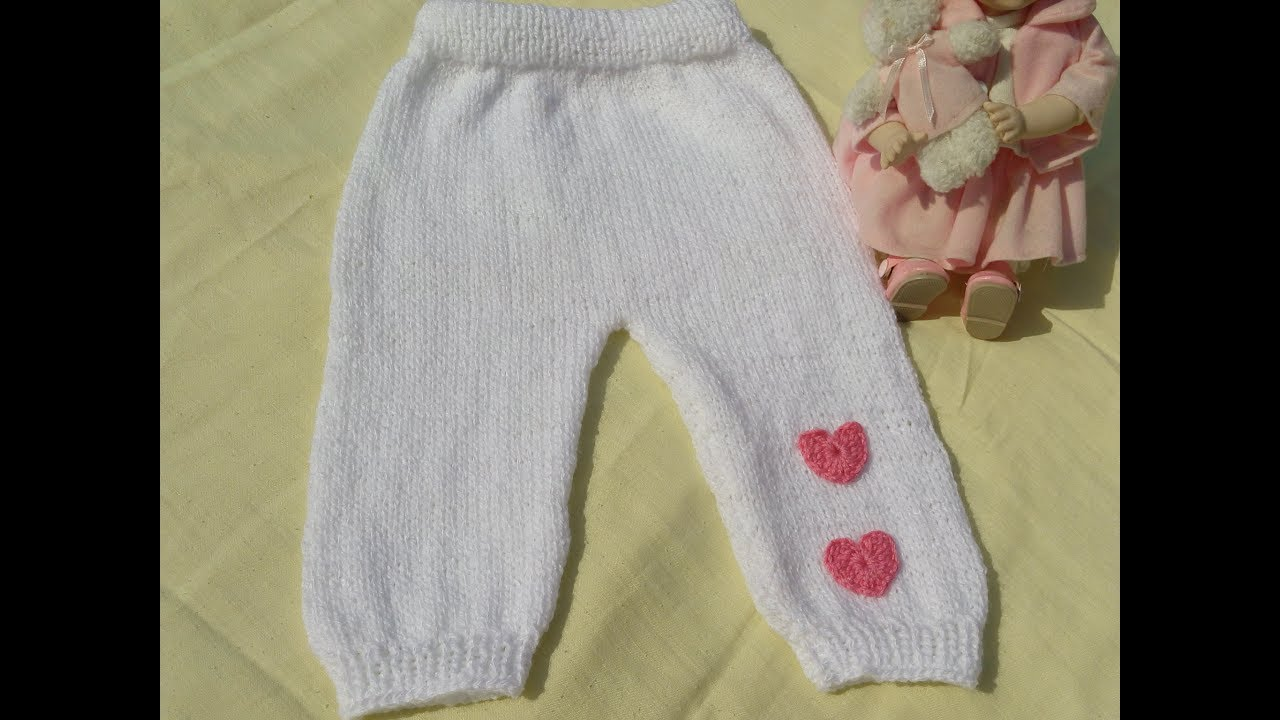 Pantalon Para Bebe Tejido En Dos Agujas Youtube