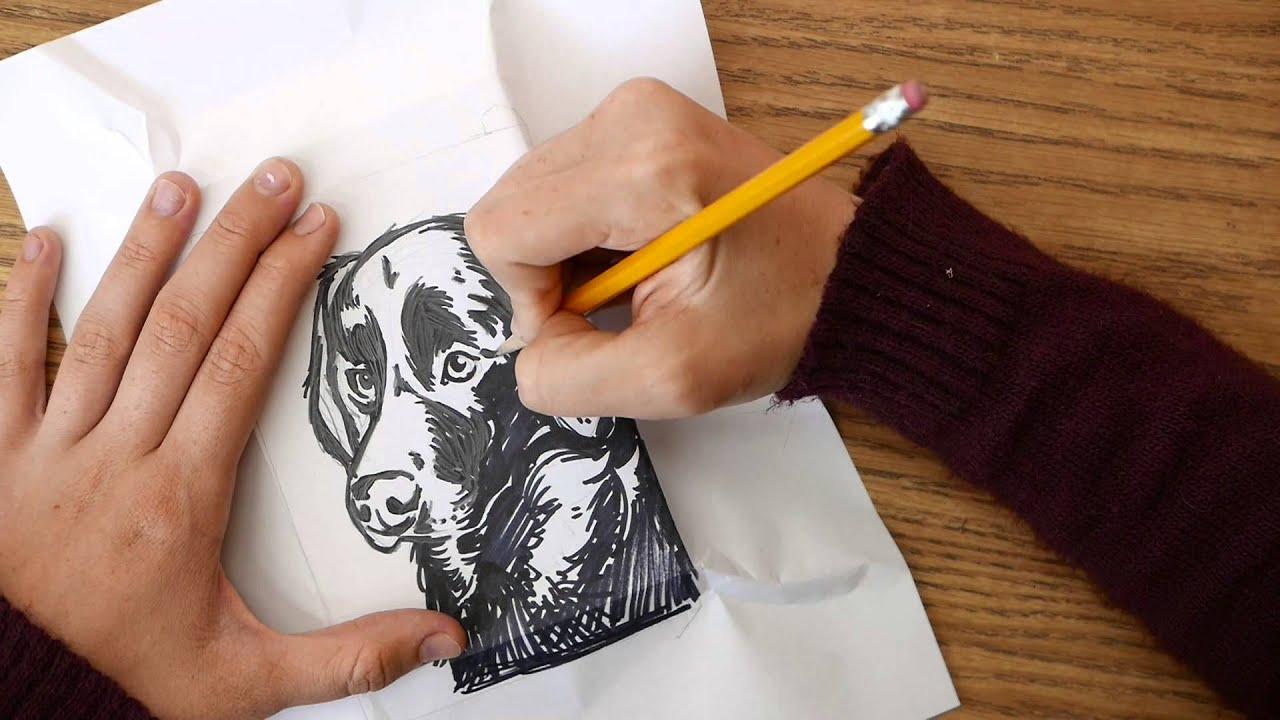 Black dog labrador linoleum block carving and printing