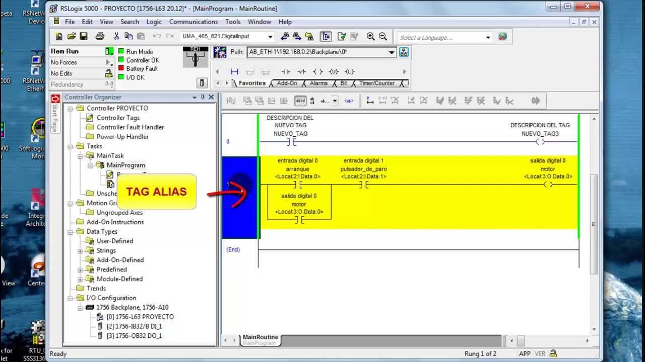 PLC RSLogix 5000 Basico (Tipos datos, Tags Base Alias) Parte 4 de 8 ...