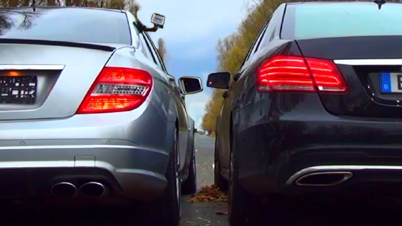 Mercedes C63 Amg Vs Mercedes E500 V8 Biturbo Sound Battle