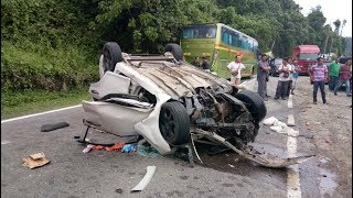Four killed, two hurt in car express bus collision