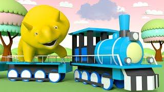 Invata Culori - Trenul - Mingea - Invata cu Dinozaurul Dino Desene animate educationale