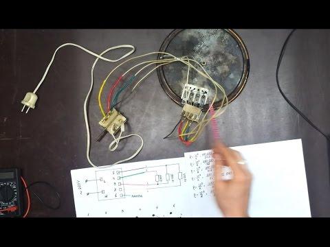 Схема подключения конфорки с 4 контактами