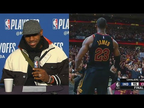 LeBron James Reacts To His Game Winning Buzzer Beater vs Pacers!