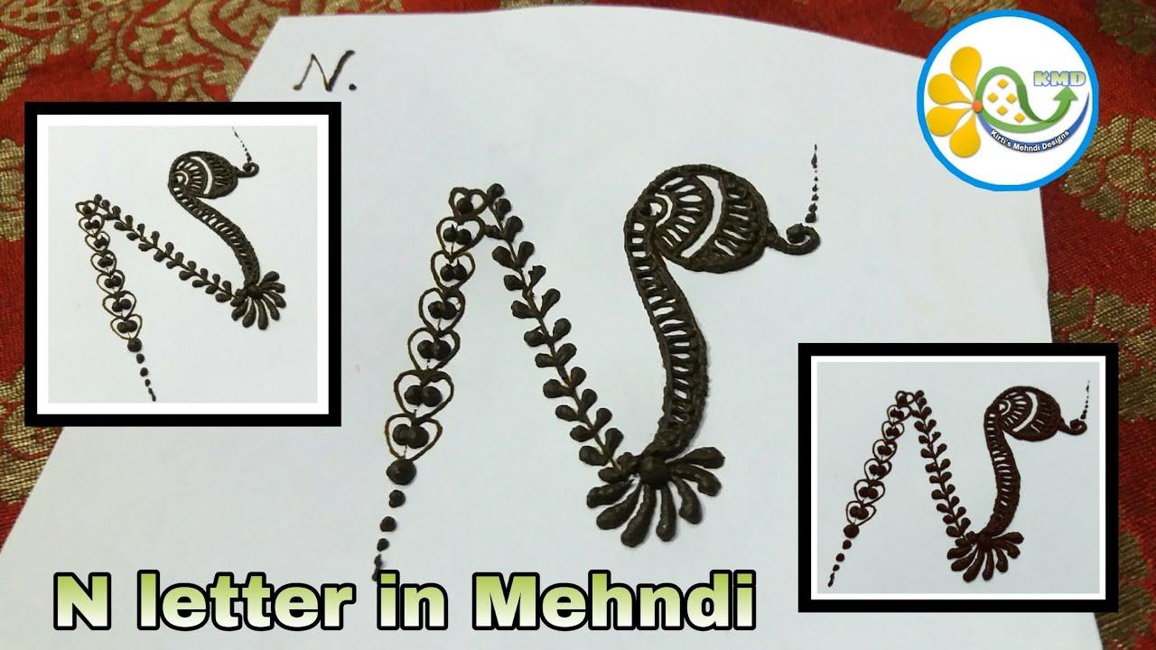 N name alphabet | alphabet henna tattoo | N letter alphabet mehndi design|  मेहंदी में N