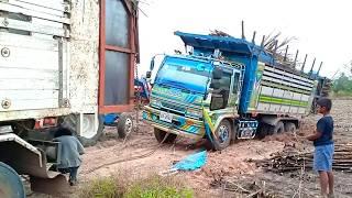 รถสิบล้อติดหล่ม-รถขนอ้อยติดหล่ม,-dump-track