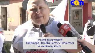 Protest pracowników MOPS w Kamiennej