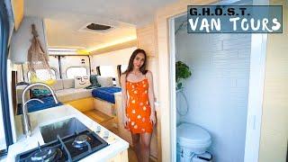 Yacht Vibes DIY Van Tour - Skylight, Quartz Countertops, Bamboo, Shower, King Size bed