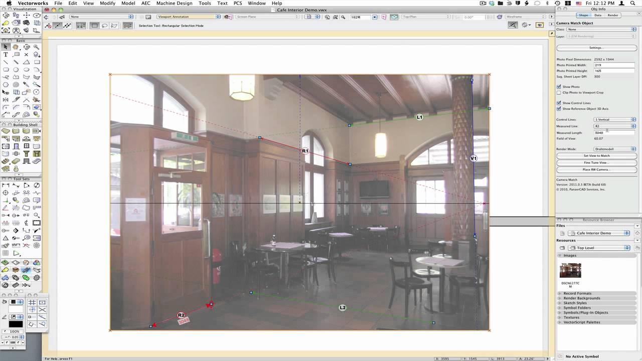 cameramatch for vectorworks cafe interior partition demo
