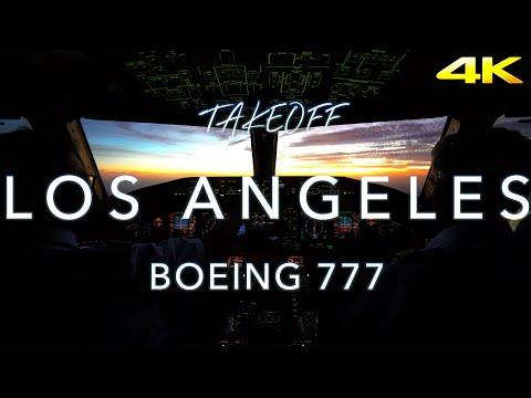 TakeOff Los Angeles Sunset | B777 CockpitView 4K