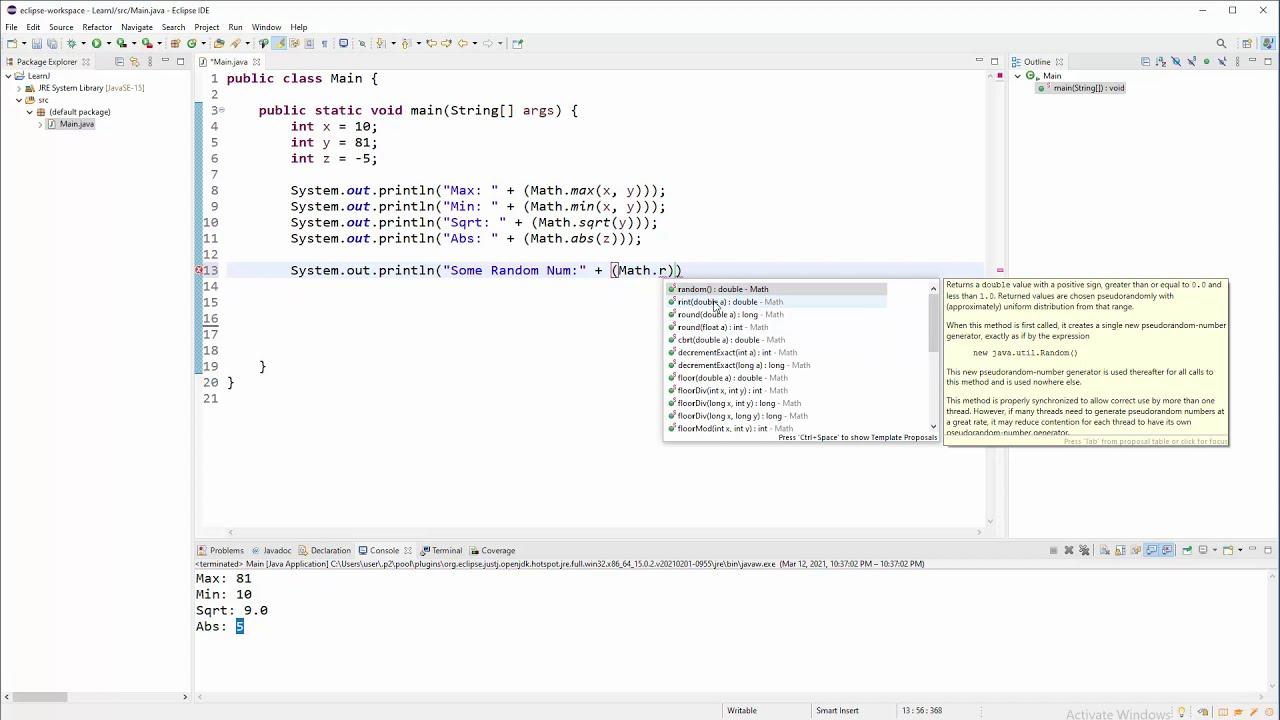 Java Tutorial - Simple Math Methods