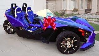 Senya presenting Dad a 3-Wheel Car Polaris That You Haven't Seen yet!