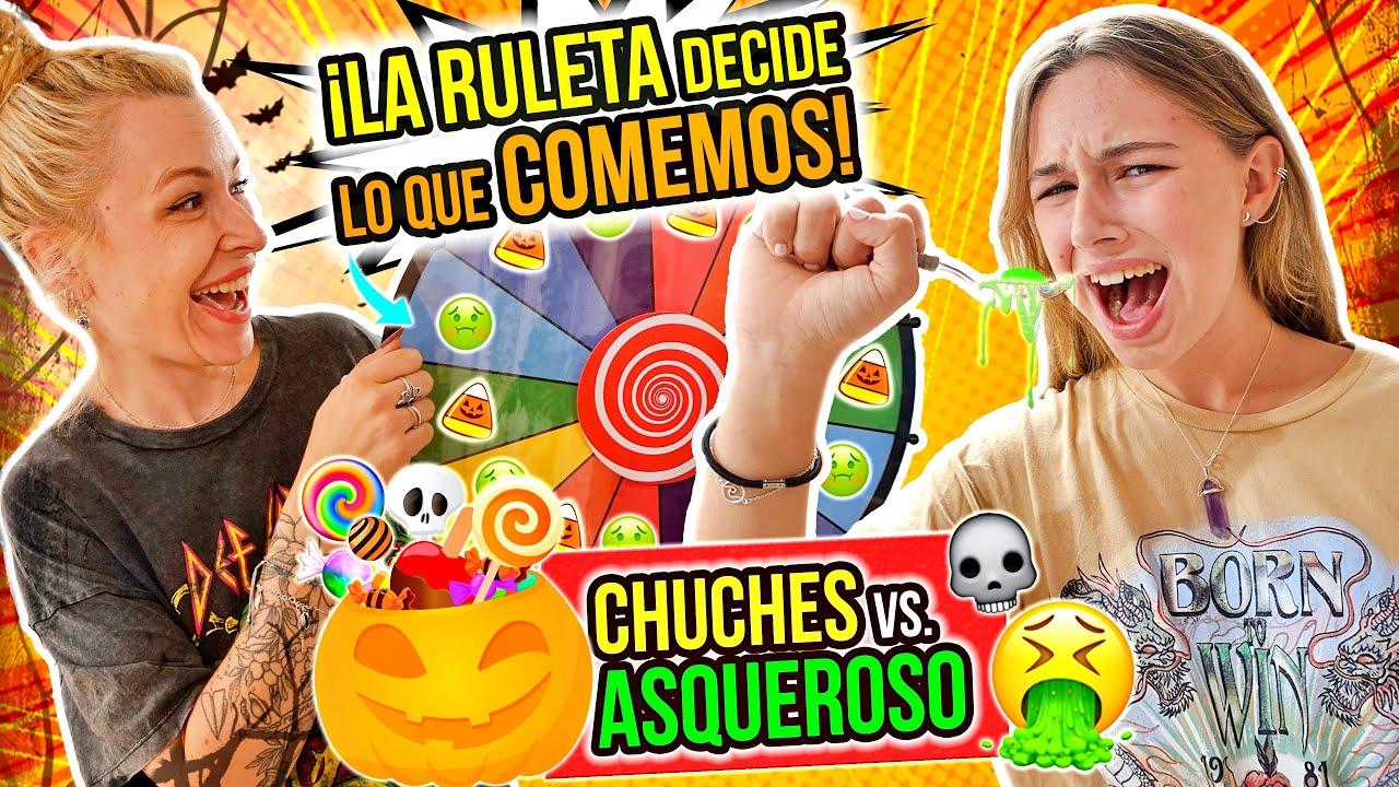 La RULETA DECIDE qué COMEMOS 🍬 DULCES vs COMIDA ASQUEROSA 🤢 ¡edición HALLOWEEN! 🎃