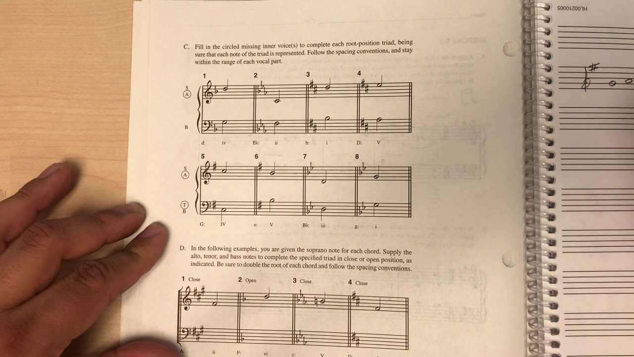 Tonal Harmony Workbook 5-2 C & D - YouTube