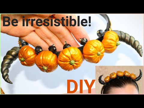 DIY Headband for Halloween with pumpkins and polymer clay horns