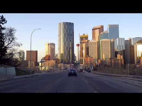 Downtown Calgary Alberta Canada - Driving in City Centre - Morning Tour 2018