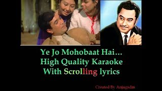 Ye Jo Mohobbat Hai || Kati Patang (1970) || karaoke with scrolling lyrics (High Quality)